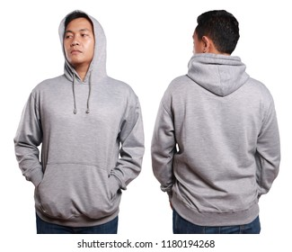 Blank sweatshirt mock up, front, and back view, isolated on white. Asian male model wear plain grey long sleeved sweater shirt mockup. Sweat clothes t-shirt jumper design presentation for print