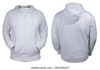 Blank sweatshirt mock up, front, and back view, isolated on white. Plain white hoodie mockup. Hoody design presentation. Jumper for print. Blank clothes sweat shirt sweater