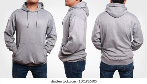 Blank sweatshirt mock up, front, side and back view. Plain gray hoodie mockup. Male model wearing hoody sweatshirt, design presentation. Jumper for print. Blank clothes sweat shirt sweater