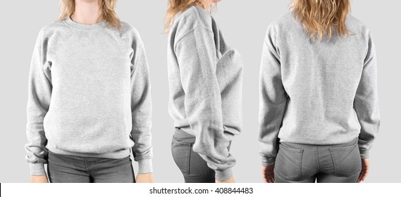 Blank sweatshirt mock up, front, back and profile, isolated. Female wear plain hoodie mockup. Hoody design presentation. Clear loose model. Jumper for print. Man clothes sweat shirt sweater wearing