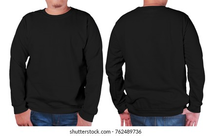 Blank sweatshirt mock up, front, and back view, isolated on white. Asian male model wear plain black long sleeved sweater shirt mockup. Sweat clothes t-shirt jumper design presentation for print