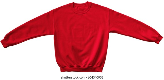 Blank sweatshirt red color mock up template front view on white background