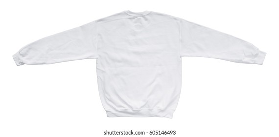Blank sweatshirt white color mock up template back view on white background