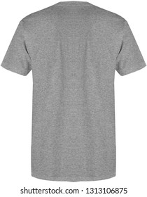 Blank t shirt back view heather grey color isolated on white background, ready for mock up template