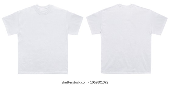 Blank T Shirt color white template front and back view on white background