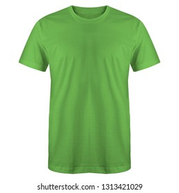 d5b19cd64 Blank t shirt green color isolated on white background, ready for mock up  template