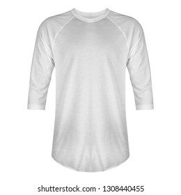 Blank t shirt raglan 3/4 sleeves front view with white color isolated on white background, ready for mockup template