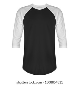 Blank t shirt raglan 3/4 sleeves front view with white and black color isolated on white background, ready for mockup template