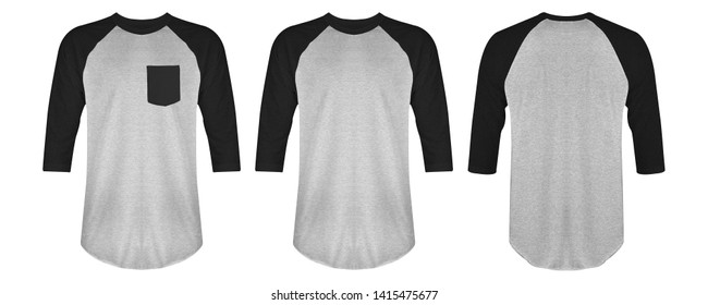Blank t shirt raglan 3/4 black heather grey color isolated on white background. Blank t shirt raglan set bundle pack with three different style, suitable for mock up template.