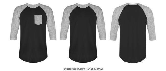 Blank t shirt raglan 3/4 heather grey black color isolated on white background. Blank t shirt raglan set bundle pack with three different style, suitable for mock up template.
