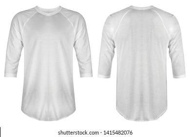 Blank t shirt raglan 3/4 white color isolated on white background. Blank t shirt raglan set bundle pack with three different style, suitable for mock up template.