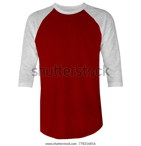117f9e28b Blank t shirt raglan 3/4 sleeve template for mock up in red chilli maroon