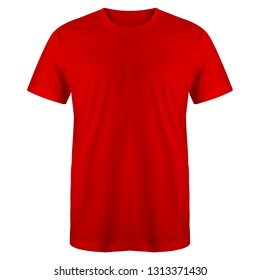 Blank t shirt red color isolated on white background, ready for mock up template