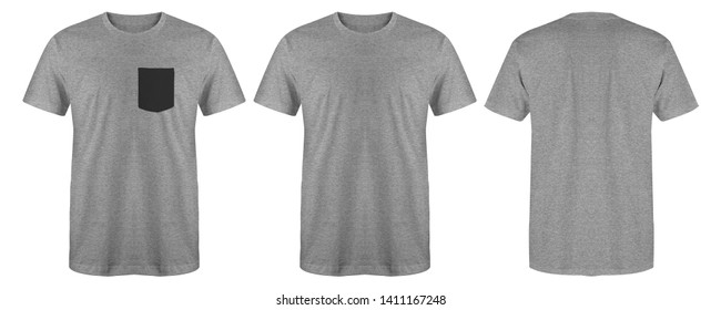 Blank t shirt set bundle pack. Heather grey t shirt isolated on white background with three different style, suitable for mock up or presentation your project.