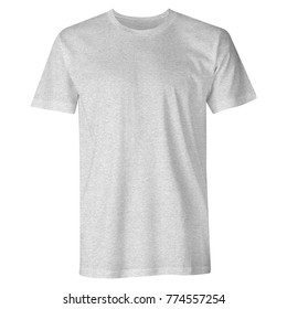 Blank t shirt short sleeve basic heather grey color also suitable for mockup isolated on white background