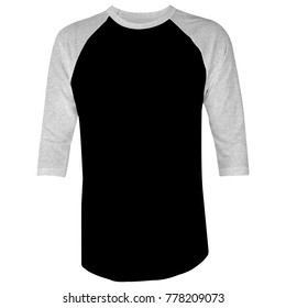 Blank t shirt template raglan 3/4 sleeve black and heather gray in white background for mockup