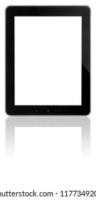 Blank tablet screen isolated on white
