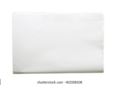Blank tabloid format newspaper folded in half isolated on white background.
