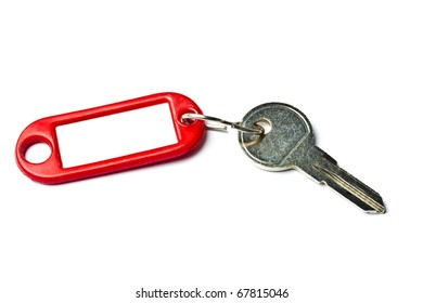 Blank tag and a key isolated on white background