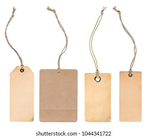 Blank tag lable collection on product for show price or discount isolate on white background