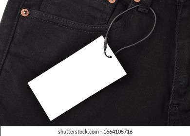 blank tag on black pants for advertisement and promotional messages
