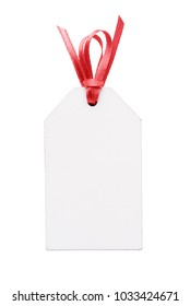 Blank tag with red riibon isolated on white background.