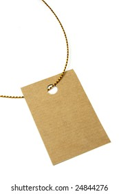 Blank tag tied with brown string. Price tag, gift tag, sale tag, address label