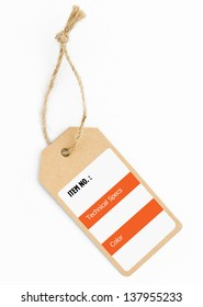 Blank tag tied with string, Price tag with rope.