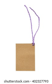Blank tag tied with string. Price tag, gift tag, sale tag, address label.