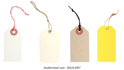 Blank tags tied with string. Price tag, gift tag, sale tag, address label