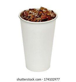 Blank take away cola cup with ice on white background including clipping path