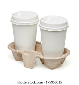 Blank take medium away coffee cups mockup or mock up template in carry tray including clipping path