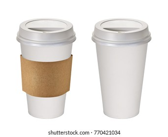 Blank takeaway coffee cups with / without sleeve on white background