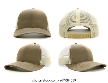 Blank tan cap isolated on white background. Multiple angles included. Great for mock ups.