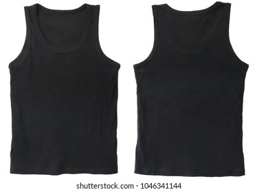 Blank tank top color black front and back view on white background