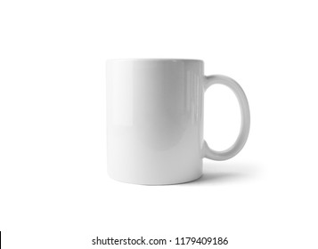 Blank tea cup or coffee mug isolated on white background. Responsive design mockup. Clipping path.