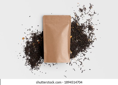 Blank tea packaging mockup with tea, top view, packaging mockup with empty space to display your branding design.
