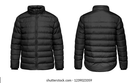 Blank template black down jacket with zipped, front and back view isolated on white background. Mockup winter sport jacket