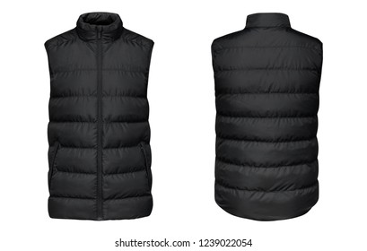 Blank template black waistcoat down jacket sleeveless with zipped, front and back view isolated on white background. Mockup winter sport vest