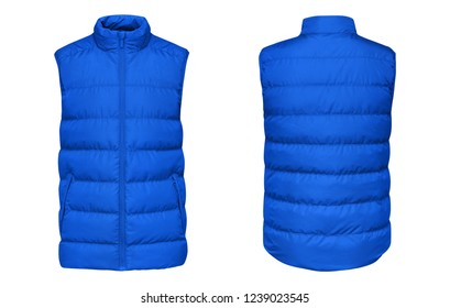 Blank template blue waistcoat down jacket sleeveless with zipped, front and back view isolated on white background. Mockup winter sport vest