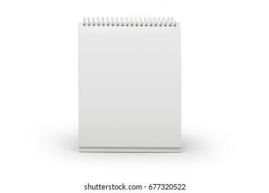 Blank template desktop calendar for the spring isolated on white background