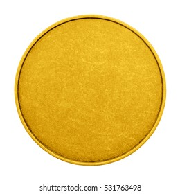 Blank template for gold coins or medals metal texture isolated on a white background