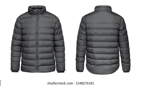 Blank template grey down jacket with zipped, front and back view isolated on white background. Mockup gray winter jacket for your design.