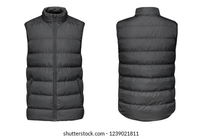 Blank template grey waistcoat down jacket sleeveless with zipped, front and back view isolated on white background. Mockup gray winter sport vest