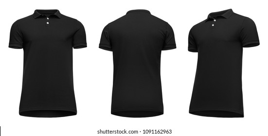 5fc98f55 Blank template men black polo shirt short sleeve, front and back view half  turn bottom