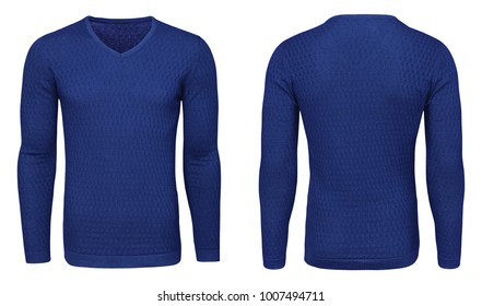 Blank template mens blue sweatshirt long sleeve, front and back view, isolated on white background with clipping path. Design pullover mockup for print.