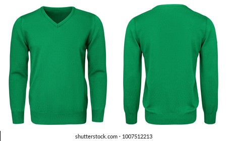 84e536309 Blank template mens green sweatshirt long sleeve, front and back view,  isolated on white