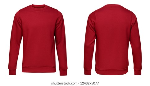 Blank template mens red pullover long sleeve, front and back view, isolated on white background with clipping path. Design sweatshirt mockup for print.