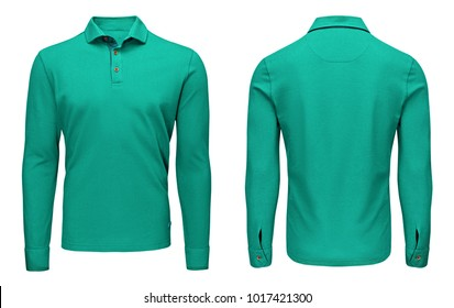 Blank template mens turquoise polo shirt long sleeve, front and back view, isolated on white background with clipping path. Design sweatshirt mockup for print.