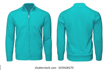 Blank template mens turquoise sweatshirt long sleeve, front and back view, isolated on white background with clipping path. Design pullover mockup for print.